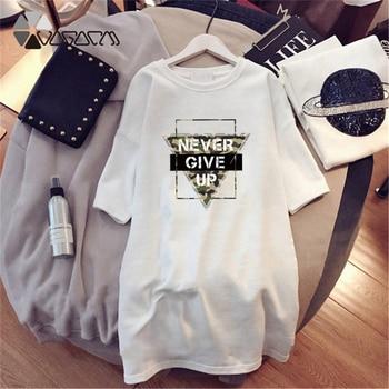 Women Dresses NEVER Series Letter Plus Size Black Mini Dress Loose Summer Long T Shirt Casual Clothes Femme Tops White Sukienka 100