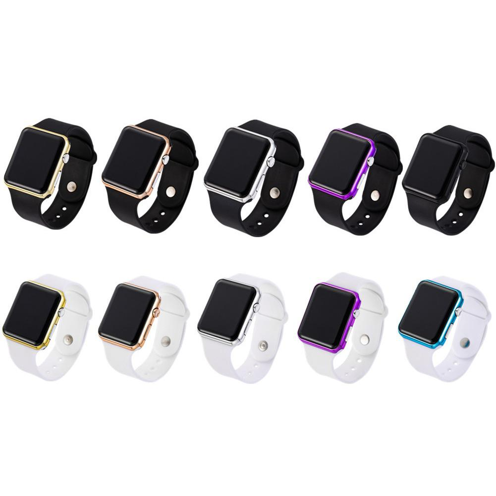 LED Square Casual Watch Digital Silicone Band Sports Clock Wrist Watches For Men Women