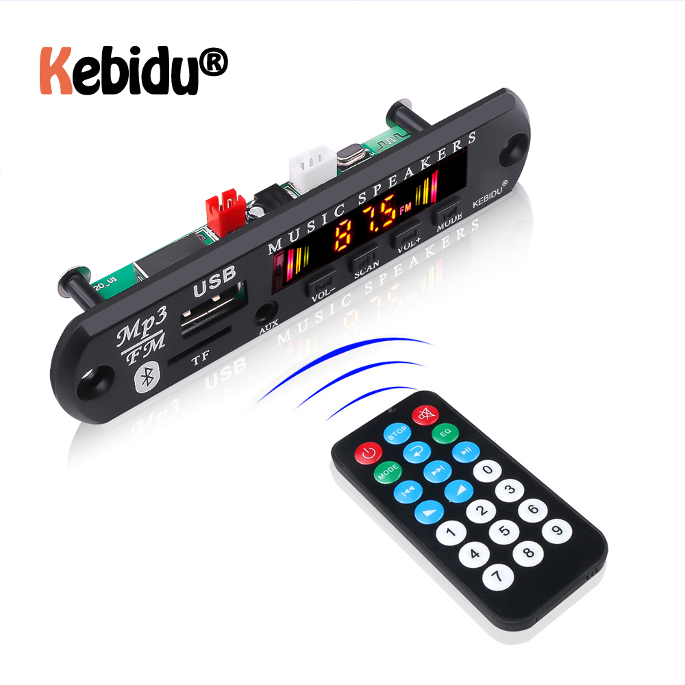 5V 12V Bluetooth 5.0 Receiver Car Kit MP3 Player Decoder Board Color Screen FM Radio TF USB 3.5 Mm AUX Audio For Iphone XS(China)