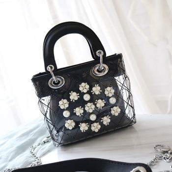 2020 New Famous Designer Pearl Chain Shoulder Messenger Bags Luxury Fashion Flower Women Purse and Handbags Channels Louis Bags