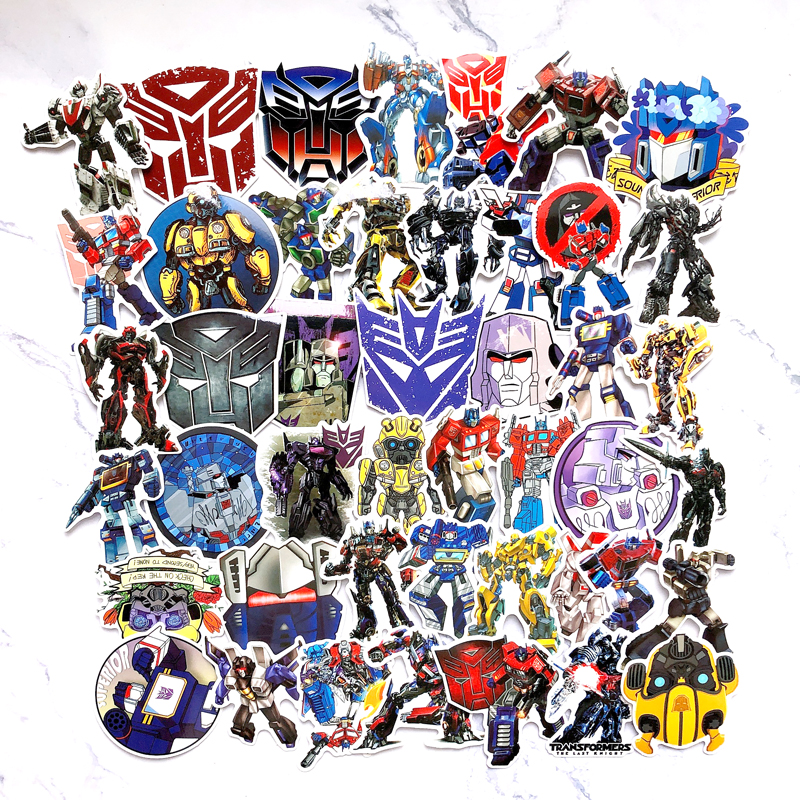50pcs Optimus Prime Logo Sticker Decal Decor For Suitcase Laptop Skateboard Stickers DIY Toy Waterproof Decals