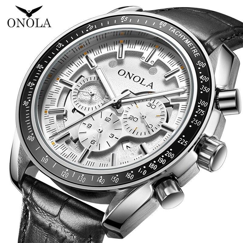 ONOLA High-end Business Fashion Automatic Multi-function Mechanical Watch Mens Leather Belt Luminous Waterproof