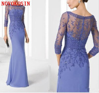 2020 Mermaid 3/4 Sleeves Beading Crystal Bateau Chiffon Mother of Bride Dresses Wedding Party Formal Evening Gowns