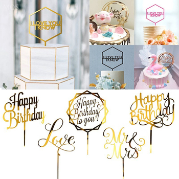 Happy Birthday Cake Topper Acrylic Letter Toppers Party Supplies Black Decorations Boy