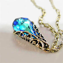 Модное изысканное женское свадебное обручальное ожерелье с синими