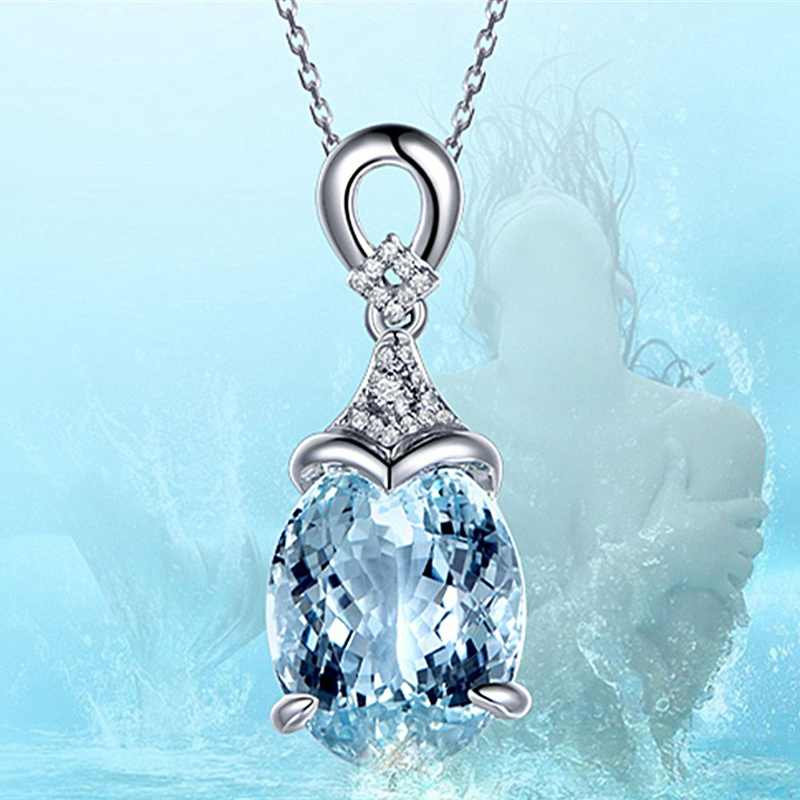 Vintage Gemstone Natural Aquamarine Silver Chain Pendant Necklace Jewelry Gift Blue Crystal Zircon Pendant Necklace