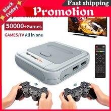 Super console x pro retro mini console de jogos de vídeo/tv sistema duplo para jogos psp/n64/dc/ps1 para xbox gamepad embutido 50000 + jogos