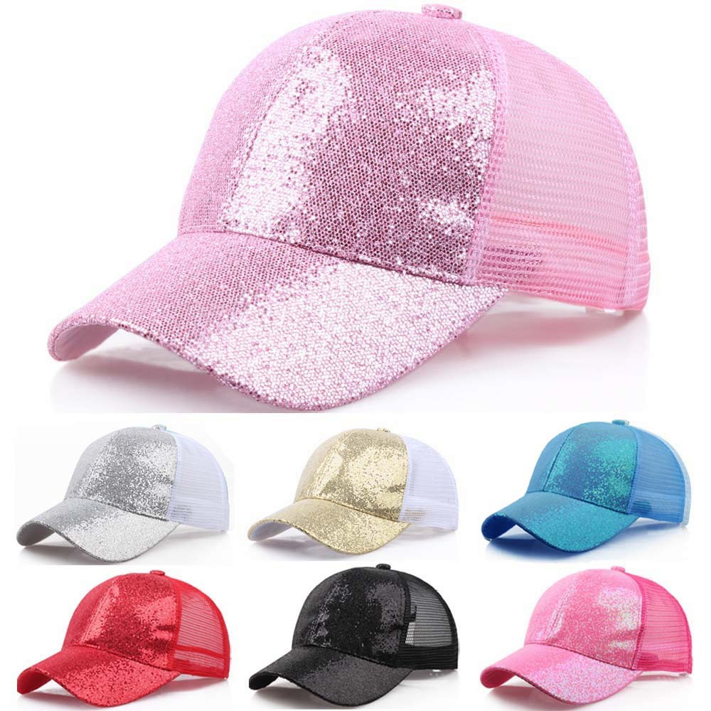 2019 Ponytail   Baseball     Cap   Women Messy Bun Snapback Summer Mesh Hats Casual Sport Sequin   Caps   Drop Shipping Hat   Cap   #L5