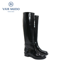 Knee-High Boots Motorcycle-Boots Women Shoes Black Patent Leather Winter Fashion ZT66