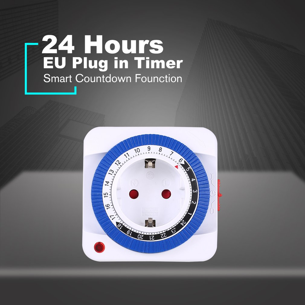 24 Hour Timer Energy Saver Socket In Mechanical Grounded Programmable Timer Switch Smart Switch Indoor Auto Power Off  EU Plug