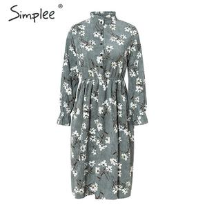 Image 4 - Simplee Corduroy plus size dress High waist ruffled floral print women dress Casual a line ladies chic autumn office dress 2019