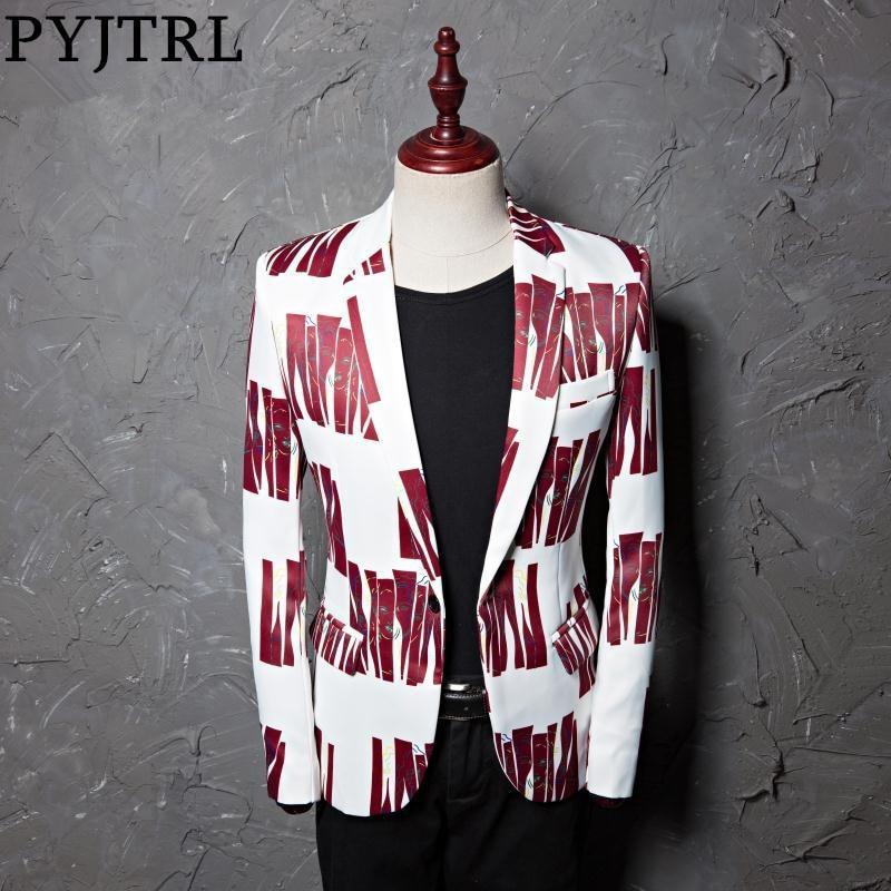 PYJTRL Tide Men Plus Size 5XL Fashion Print Casual Slim Fit Formal  Suit Jacket Blazer Designs Stage Costumes For Singers