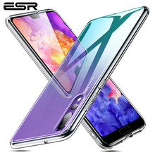 ESR szkło hartowane etui na telefony dla Huawei P20 pełna tylna pokrywa dla Huawei P20 Pro TPU miękka krawędź silikonowe etui szklane Coque