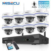 Kit de vigilancia de visión nocturna con grabación de Audio IR para cámara Wifi a prueba de vandalismo para interiores MISECU 8CH 1080P HD sistema inalámbrico NVR con 2.0MP
