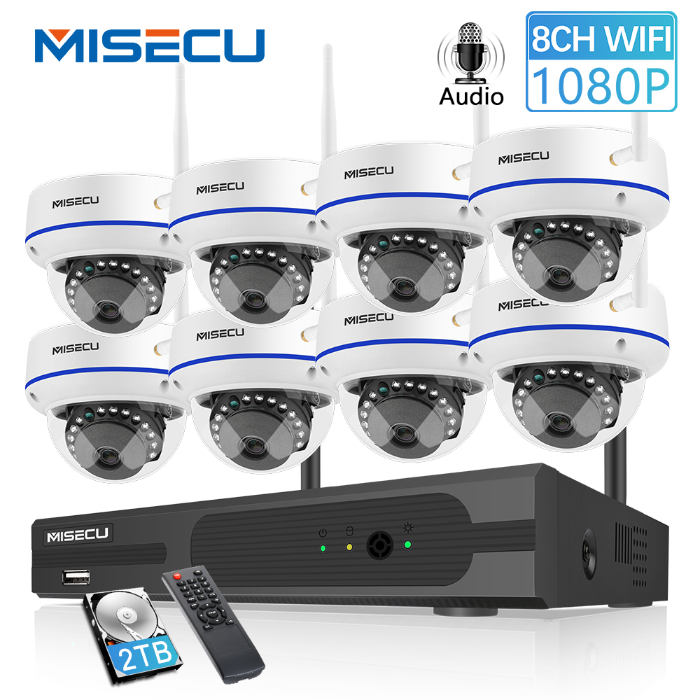 MISECU 8CH 1080P HD sistema inalámbrico NVR con 2.0MP interior a prueba de vandalismo Wifi Cámara Audio registro IR visión nocturna vigilancia Kit Mini ganchos de mano separador del sistema EAS Super seguridad etiqueta removedor de la llave de la astilla 1 Uds.