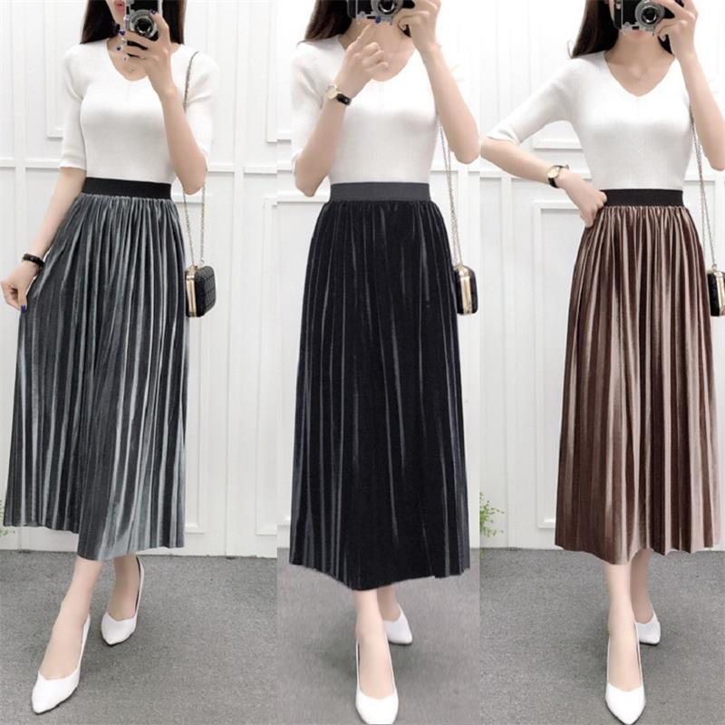 Spring and autumn new style Vintage pleated skirt Wild mid-length elastic high waist