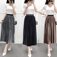 Spring and autumn new style Vintage pleated skirt Wild mid-length elastic high waist skirt girls pleated skirt 2018 new autumn and winter new children s big children s pleated half length skirt