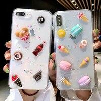 3D śliczne jasne Macarons ciasto lody etui dla iphone'a x etui XR XS MAX 7 8 6Plus piękny przezroczysty miękki silikonowy etui z brokatem