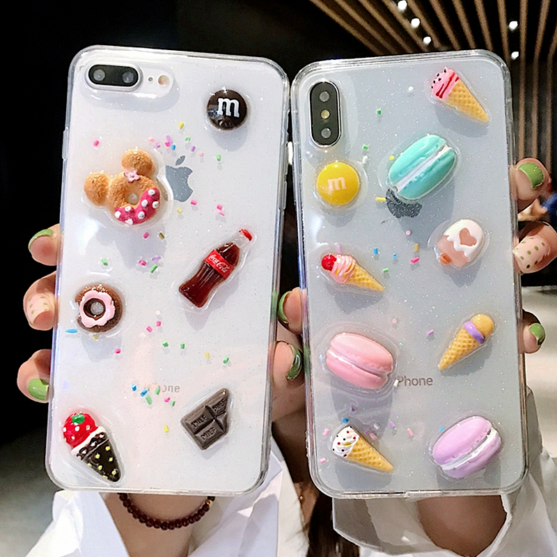 3D Cute Clear Macarons Cake Ice Cream Case For iPhone X Case XR XS MAX 7 8 6Plus Lovely Transparent Soft Silicone Glitter Cover
