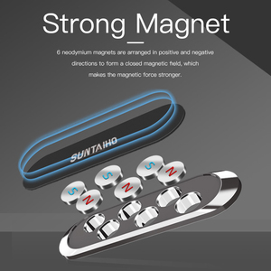 Image 3 - Universal mini Strip Shape Magnetic Car Phone Holder Stand For iPhone Samsung Huawei wall metal Magnet GPS Car Mount Dashboard