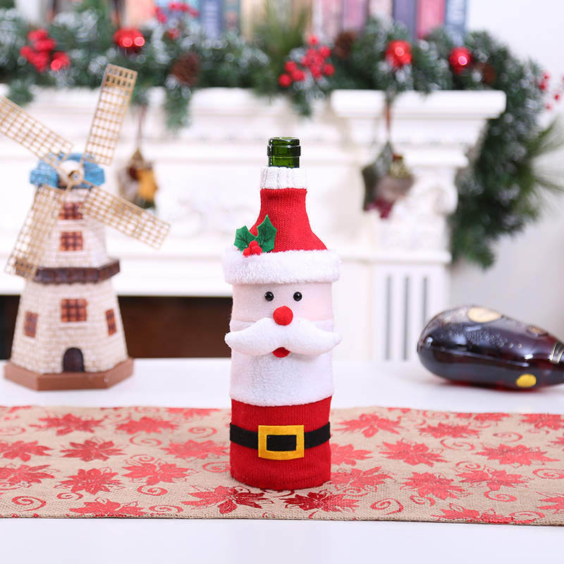 Christmas Red Wine Bottle Cover Xmas Dress Woven Bag Covers For Beer Bottle New Year Gift Packing Party Bar Table Decoration