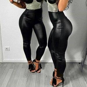 Image 5 - NORMOV siyah yaz PU deri pantolon kadınlar yüksek bel Skinny Push Up tayt seksi elastik pantolon streç artı boyutu pantolon