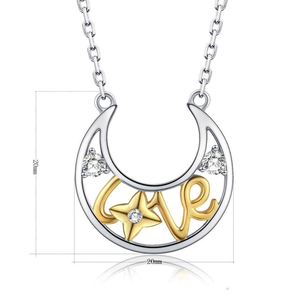 SG Moda eu te amo lua 925 sterling colar de prata casal amor carta colar de corrente de jóias presente para as mulheres do dia das bruxas 2019