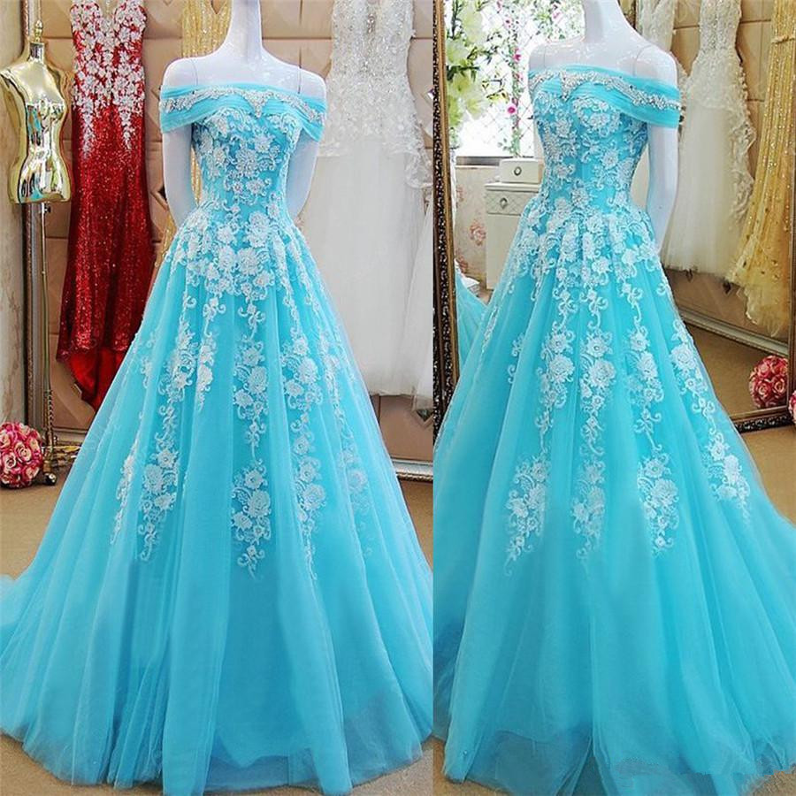 Off The Shoulder Boat Neck Mint Green Tulle A-line Applique Prom Dress Reals Evening Black Girl Prom Gowns 2019 Prom Dresses