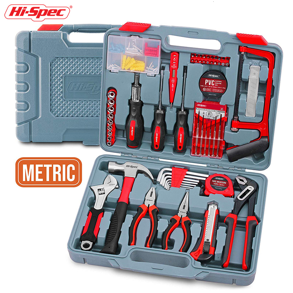 Hi-Spec120 Piece Home Hand Tool Set DIY Tool Kit Set With Hand Tools Pliers Hammer Screwdriver Metric Sockets In Plastic Toolbox