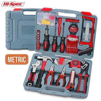 Hi-Spec120 Piece Home Hand Tool Set DIY Tool Kit Set with Hand Tools Pliers Hammer Screwdriver Metric Sockets in Plastic Toolbox hand tool set matrix 13580