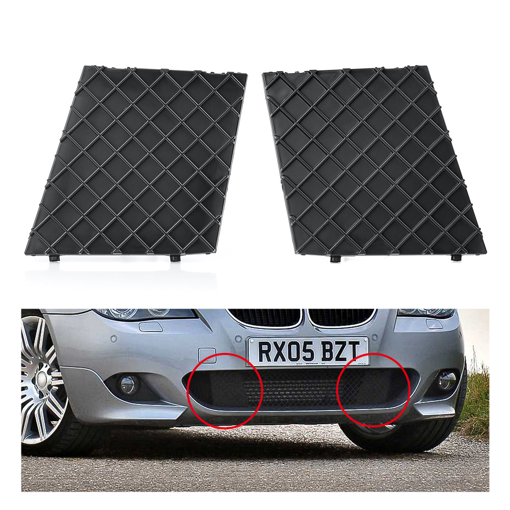 Black Front Bumper Lower Mesh Grill Trim Cover Pair Left Right For <font><b>BMW</b></font> E60 <font><b>E61</b></font> M Exterior Accessories Replacement Parts image