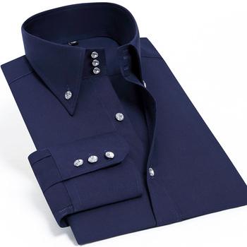 Dorywczo męskie ubranie koszule z długim rękawem czarna luksusowa impreza moda biznesowa jedwabna bawełna Slim Fit wysoki kołnierz Stage Western Shirt tanie i dobre opinie PAOLO SIRUM COTTON Pełna Skręcić w dół kołnierz Pojedyncze piersi REGULAR JN1858 Suknem Smart Casual Stałe 31 -50 Silk Cotton