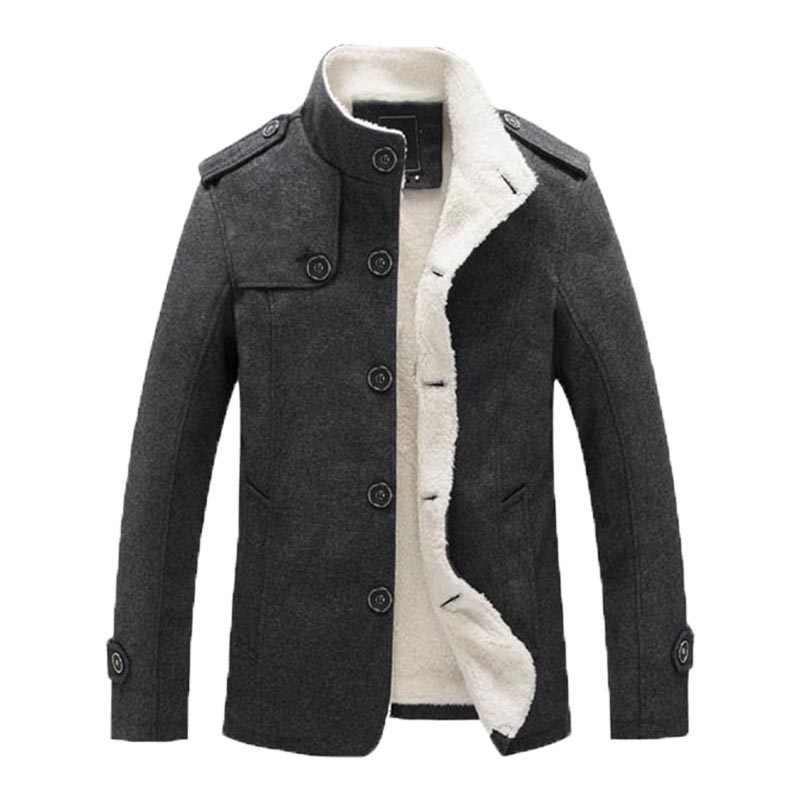冬の男性のコート裏地厚手暖かいパーカーメンズテディウールコート秋のオーバーコート男性ウールブレンドジャケットブランド服
