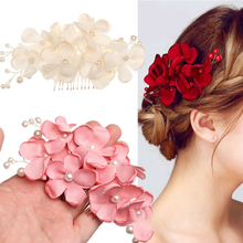 1Pcs Fashion Red Flower Bridal Hair Comb Jewelry Cloth Pearl Hairpin Wedding Accessories