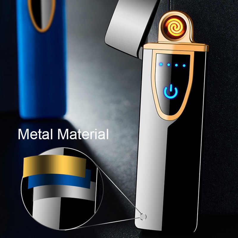 2020 担当ライタータッチ誘導防風電子超薄型 Usb シガーライターカスタム金属