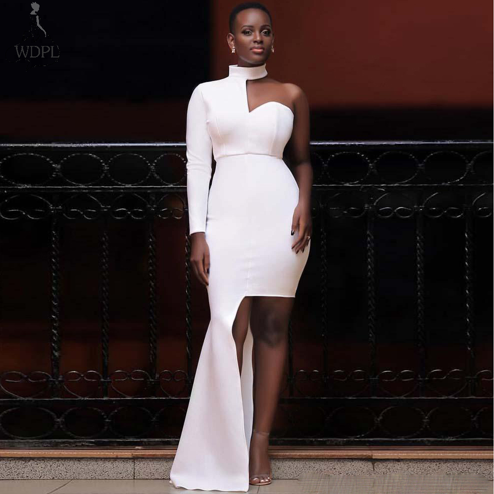 White High Neck One Shoulder Long Sleeve   Prom     Dresses   Sexy Slit Floor Length Formal Evening   Dress   Chic Special Occasion Gowns