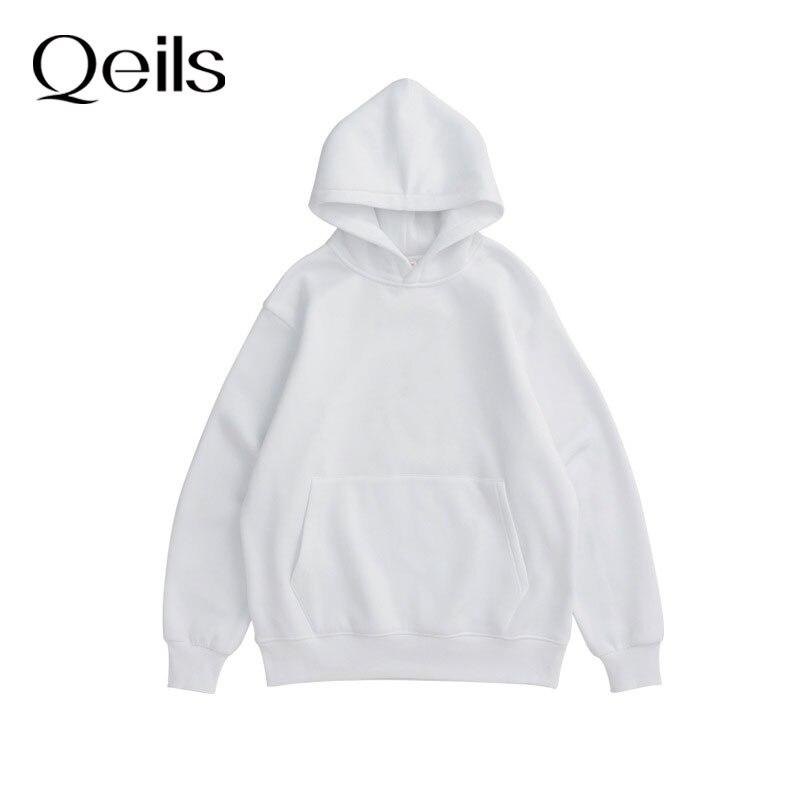 Qeils 2021 зимний японский Повседневный свободный джемпер для женщин парная худи, толстовка из флиса 100% хлопок спортивный костюм спортивный Сви...
