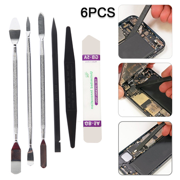 цена на 6pcs Universal Mobile Phone Repair Opening Tool Metal Spudger Kits Disassemble Crowbar Metal Steel Pry Phone Hand Tool Set