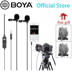 BOYA BY-M1DM 4m micrófono de solapa Lavalier de doble cabeza con conector estéreo de 1/8