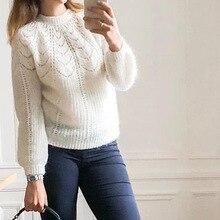 Elfbop Damen Weiß/Blau/Gelb/Grün/Braun Stricken Mohair & Wolle Aushöhlen Pullover Pullover Top   2019 neue Stil Jumper