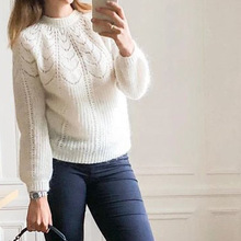 Elfbop Ladies White/Blue/Yellow/Green/Brown Knitting Mohair & Wool Hollow Out Sweater Pullover Top   2019 New Style Jumper