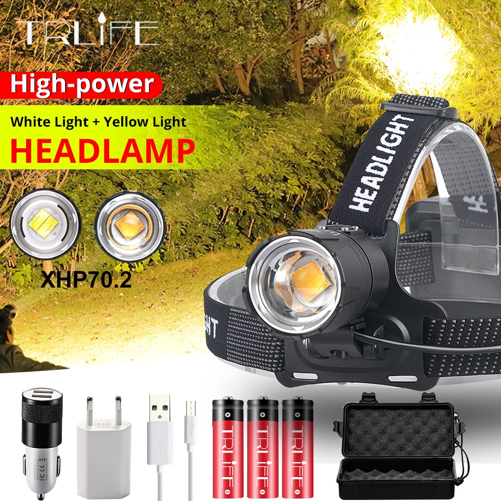 Super Bright Led XHP70.2 Yellow White Headlight Headlamp USB Rechargeable Head Torches XHP Lantern Use 3*18650 Battery For Fish