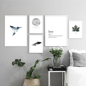 Sea Bird Feather Leaf Canvas Poster Print Nordic Style Wall Art Landscape Painting Decorative Picture Home Decor For Living Room