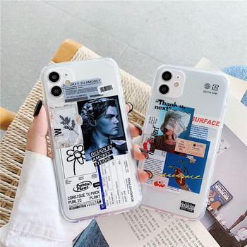 Luksusowa moda etykieta prosta krawędź etui na telefony na iPhone 12 Mini 11 Pro XS Max X XR 7 8 Plus SE 2020 Funda miękka TPU okładka tanie i dobre opinie NiceKing APPLE CN (pochodzenie) Częściowo przysłonięte etui Soft Straight edge fashion Zwykły przezroczyste W stylu rysunkowym