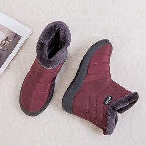 Image 5 - JIANBUDAN 캐주얼 스노우 부츠 여성 겨울 플러시 따뜻한 큰 크기 코 튼 부츠 방수 두꺼운 따뜻한 장화 봉 제 신발 35 43