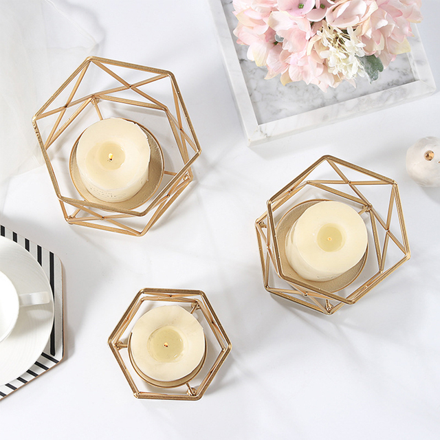 Nordic Style Wrought Iron Geometric Candle Holders Home Decorate Metal Crafts candlestick candelabros de velas Holder mesa 6