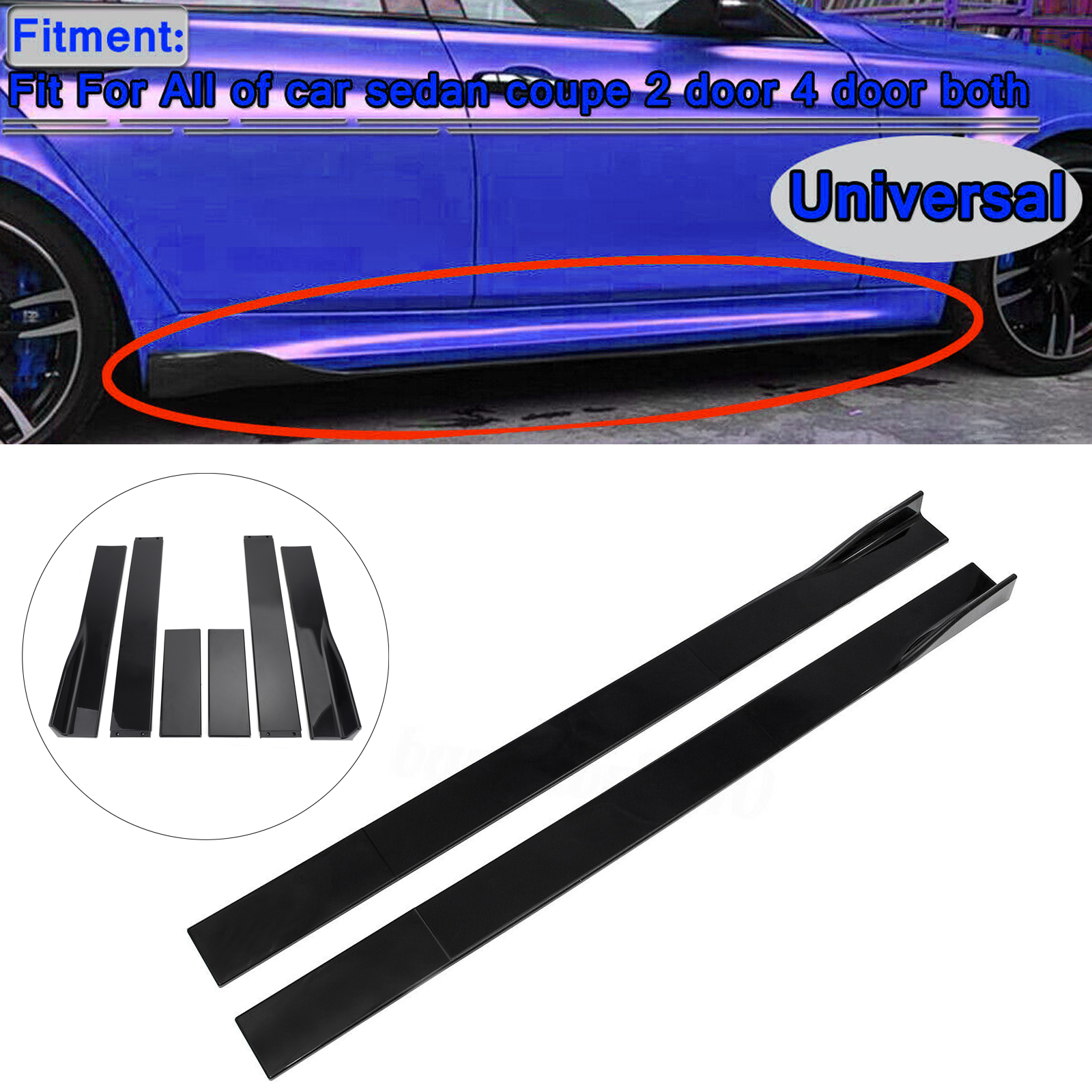 "Universal Fit 19/"" Long Black Rear Bumper Sides Extension Splitter Wing Lips"