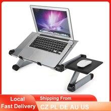 Mesa plegable para ordenador portátil, soporte ajustable de aleación de aluminio, ergonómico, sofá cama, mesa de PC con bandeja para ratón