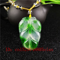 Natural A Emerald Tree Leaf Green Jade Pendant Beads Necklace Charm Jadeite Jewellery Fashion Carved Amulet Gifts for Women Men