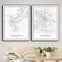 America USA R-W Black White City Map Poster  Living Room Washington Vancouve Salem Wall Art Pictures Home Decor Canvas Painting